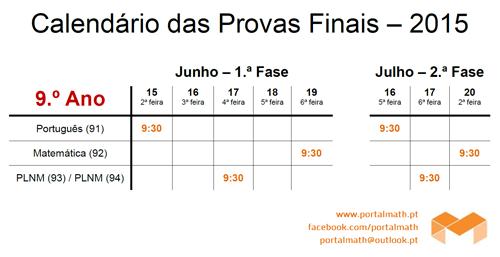 9Ano - Calendário Exames / Provas Finais 2015