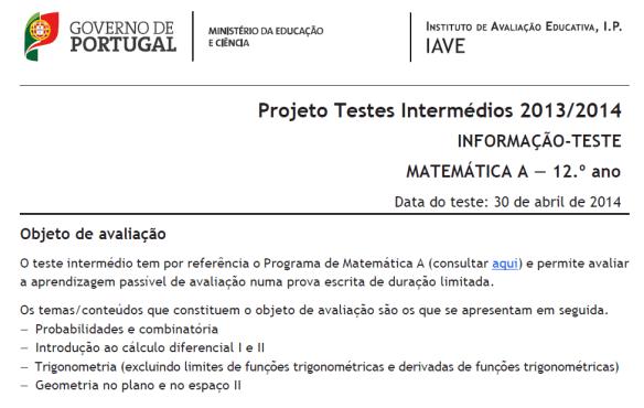 Informações / Conteúdos - Teste Intermédio 12º Ano - Matemática A - 30 abril 2014