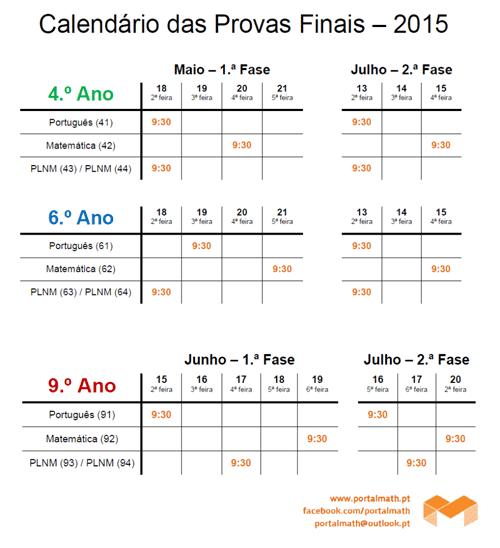 Calendário Provas Finais Português e Matemática 2015