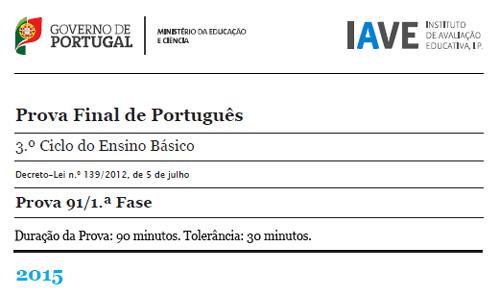 9Ano Prova Final Português - 15 junho 2015 - 1ª Fase