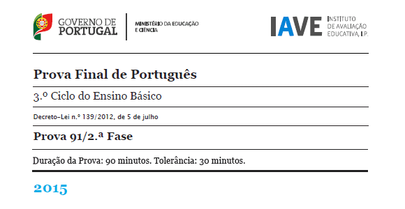 9Ano Prova Final Português - 16 julho 2015 - 2ª Fase