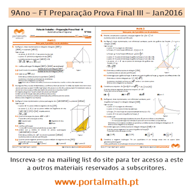 9Ano Matemática FT Preparação Prova Final III - Janeiro 2016