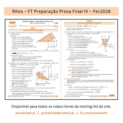 9º ano 9Ano Matemática Novo Programa Ficha Trabalho portalmath Preparação Prova Final 2016