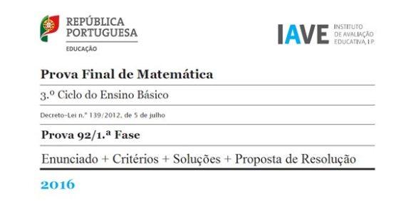 9Ano Exame Prova Final Matemática 2016 1ª Fase