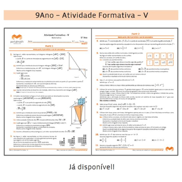 Atividade Formativa 9Ano 9º ano Matemática Exame Ficha de Trabalho Preparação Exame