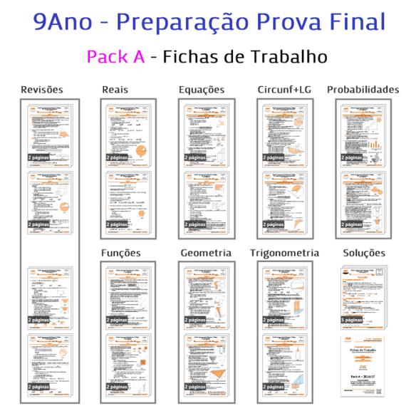 Pack A Fichas Trabalho Preparação Prova Final Exame Matemática Exercícios 9Ano 9º ano