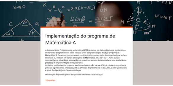 Implementação Programa Matemática A Questionário APM