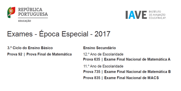 Exames Época Especial 2017 Matemática 9º ano 12º ano 11º ano MACS