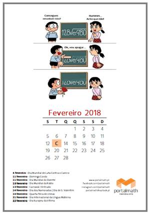 calendario fevereiro 2018