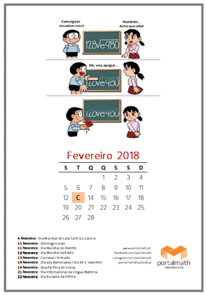 Calendário fevereiro 2018