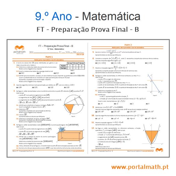 FT Prep Prova Final - B portalmath matemática exame 9º ano exame exercícios