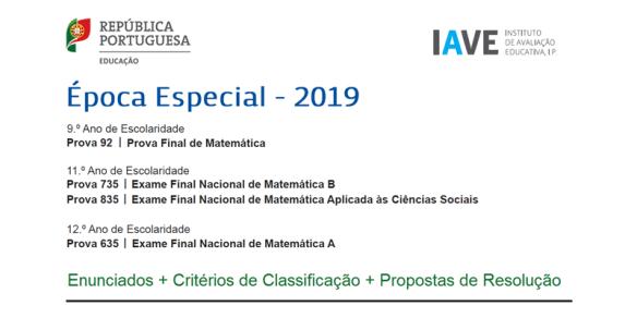 Exame Matemática Época Especial 2019