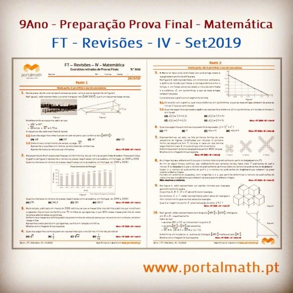 FT Revisões IV portalmath 9º ano preparação prova final exercícios matemática exame com calculadora sem calculadora