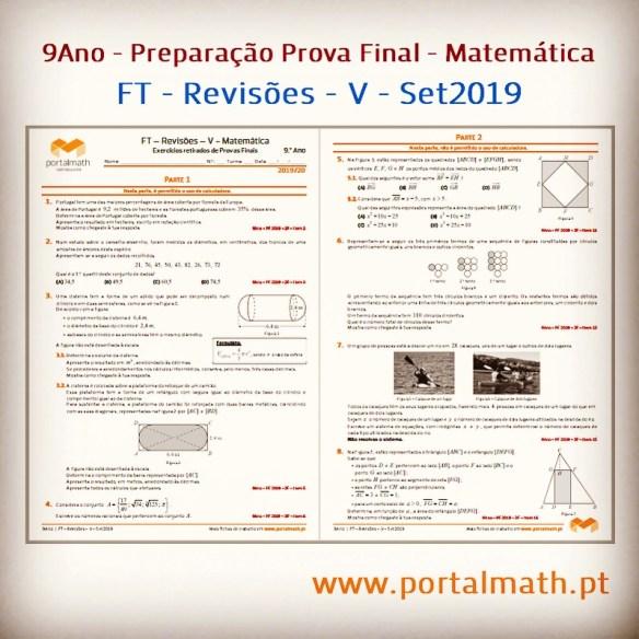 FT Revisões V portalmath 9º ano preparação prova final exercícios matemática exame com calculadora sem calculadora