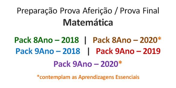 Packs 2020 Matemática Preparação Prova Aferição Exame Prova Final Fichas Trabalho Provas Modelo 8Ano 9Ano Exercícios Com calculadora Sem Calculadora