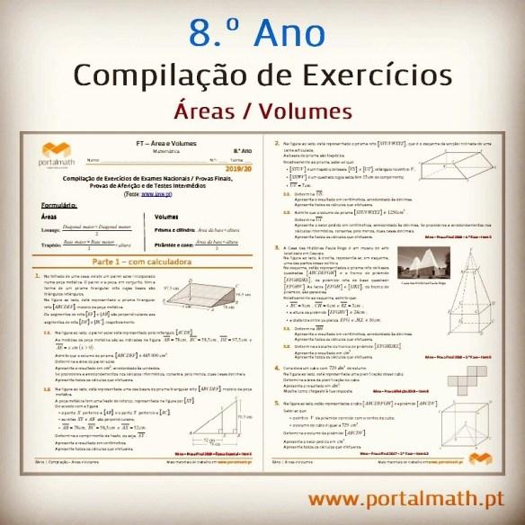 Áreas Volumes Compilação Exercícios Exame Preparação Prova Aferição