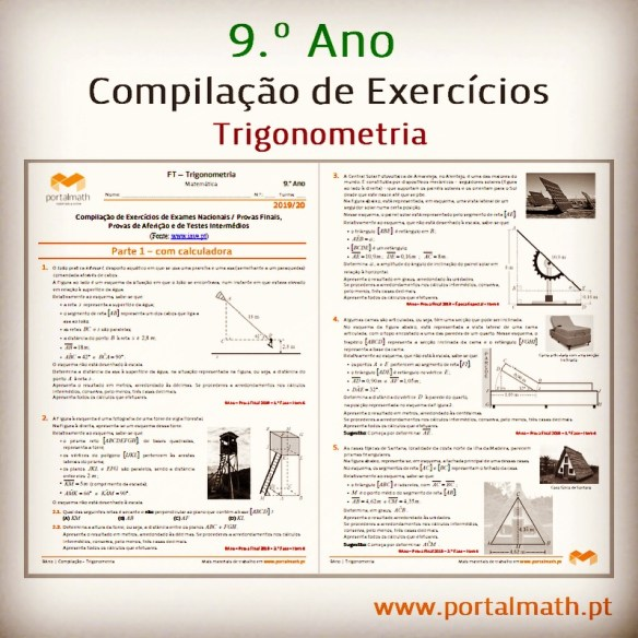 portalmath Trigonometria exercícios matemática preparação prova final exame 9ano
