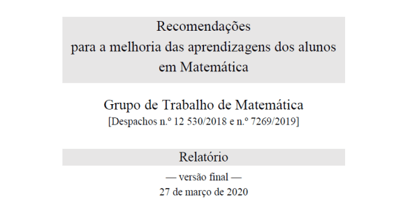 GTM Relatório melhoria das aprendizagens matemática 27 março 2020