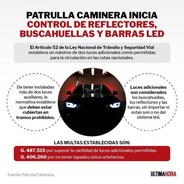 Patrulla Caminera inicia control de reflectores y luces led