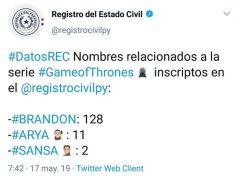 Nombres de #GoT en Registro Civil
