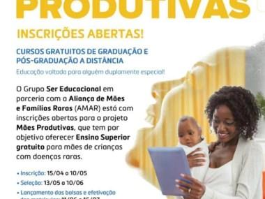 Mães Produtivas  -Curso gratuitos de graduação e Pós graduação à distância