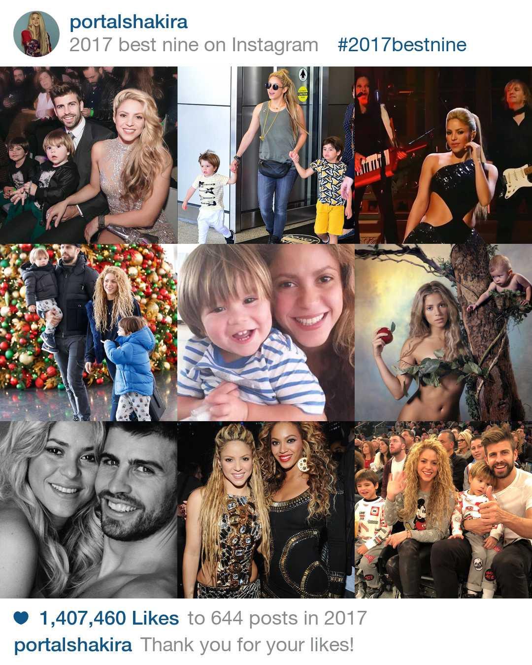 As imagens mais curtidas do Portal Shakira no Instagram ano de 2017