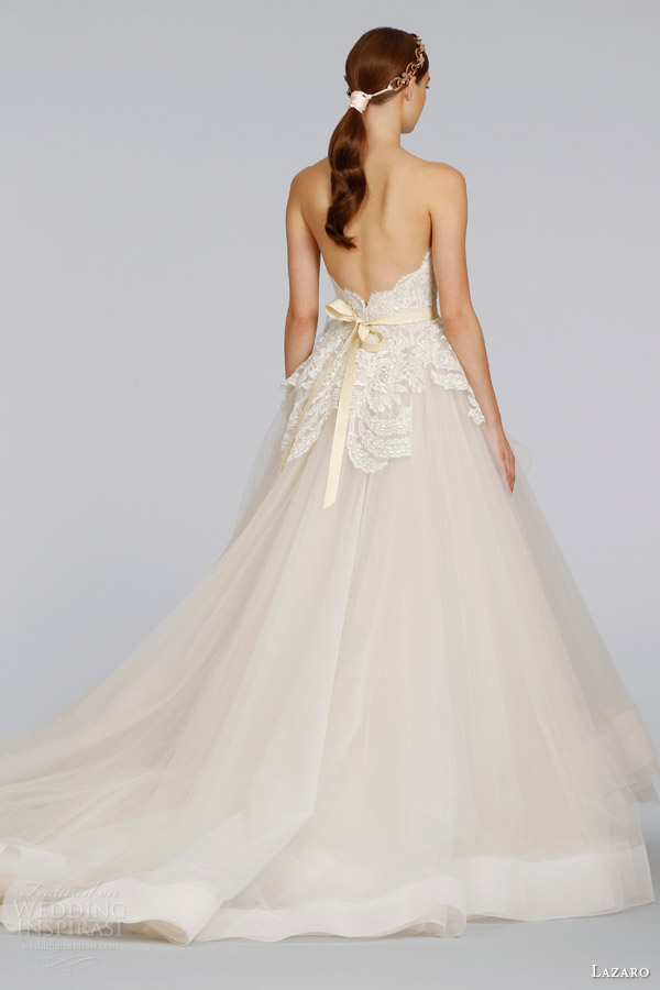 lazaro-bridal-wedding-dresses-spring-2014-champagne-tulle-strapless-ball-gown-style-3413-back-horsehair-skirt-chapel-train