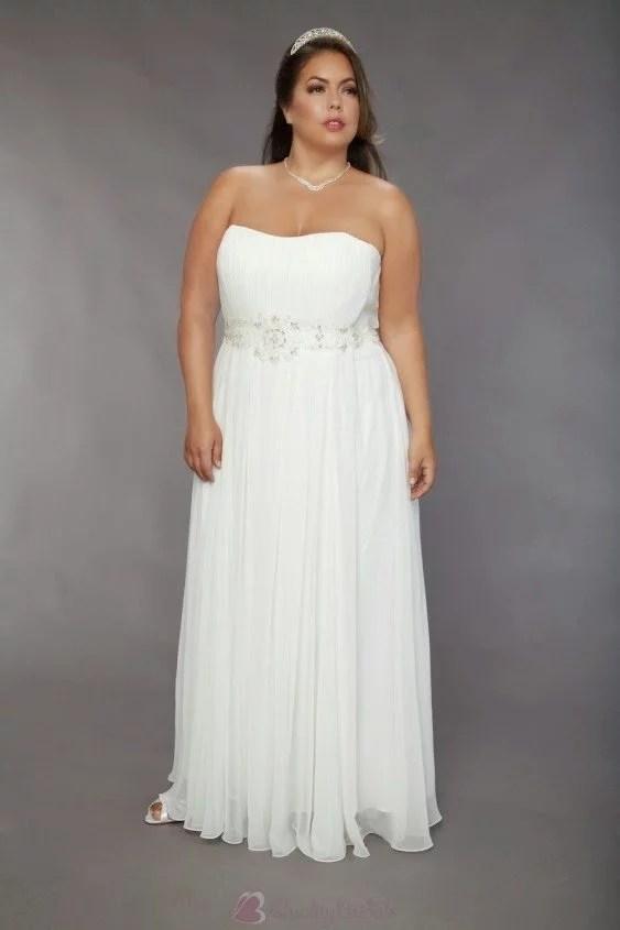 chiffon-strapless-bridal-wedding-gown-plus-size-pleated-skirt