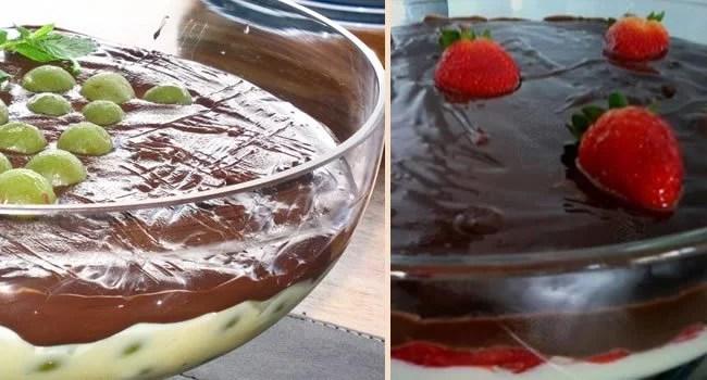 sobremesa gelada de chocolate com uvas e morangos