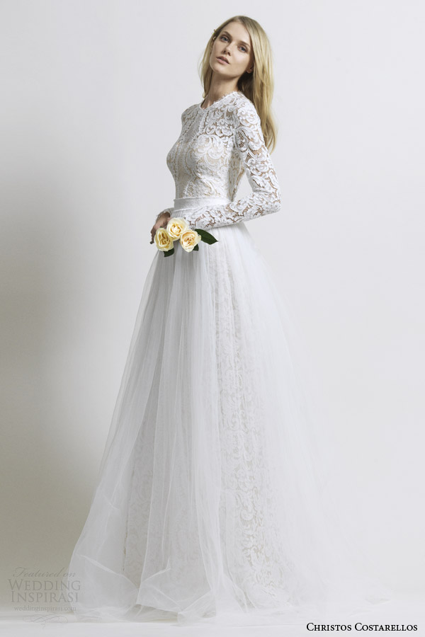 costarellos-bridal-2014-long-sleeve-lace-wedding-dress-tulle-skirt