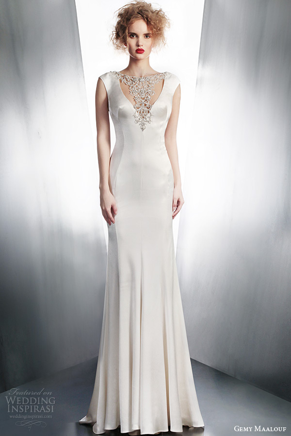 gemy-maalouf-winter-2015-bridal-cap-sleeve-wedding-dress-with-beaded-neckline-style-4127