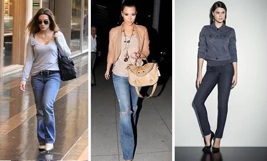 Jeans modelagem reta.