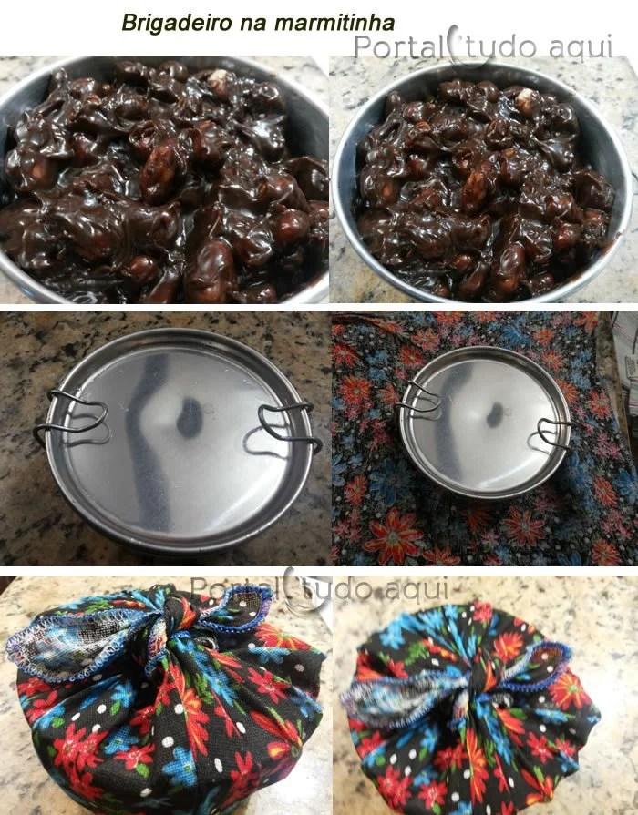Receita de brigadeiro crocante de chocolate com amendoim-embalagem-lembrancinha-festa-marmita
