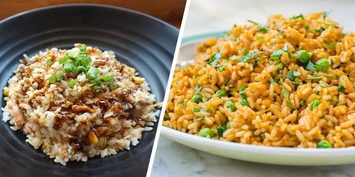 Dois pratos de arroz natalino.