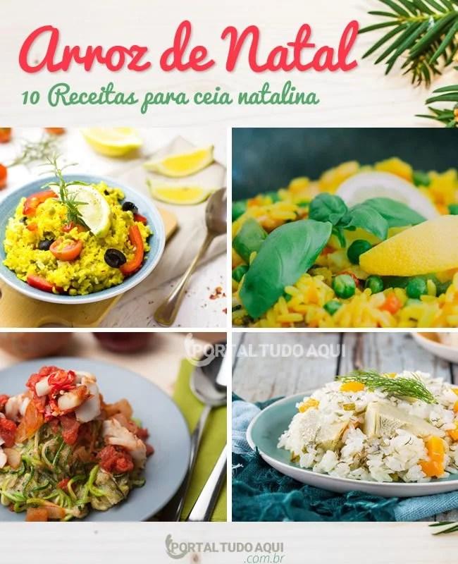 pratos de arroz natalino.
