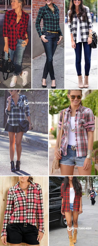 Combinações de roupas com camisa xadrez.