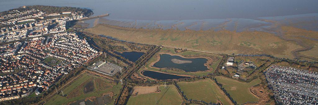 Aerial view of Portbury Wharf Nature Reserve