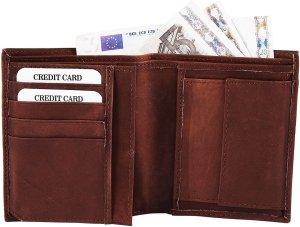 Akzent heren portemonnee - Billfold staand - donker bruin - echt leer