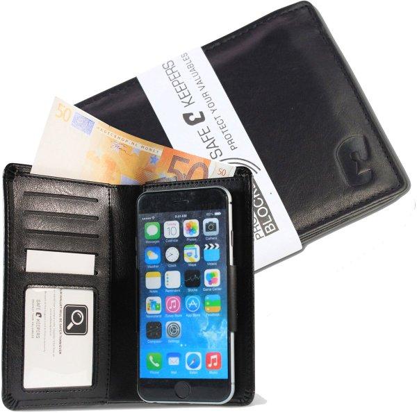 Heren Portemonnee uitgebreid met Universele Mobiel Portemonnee Zwart