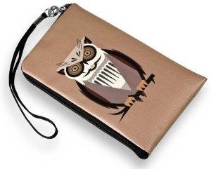 Uil design bruin portemonnee etui tasje XL