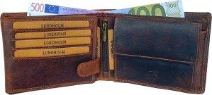 Lundholm luxe leren portemonnee heren leer bruin - RFID - hoogwaardig leer cognac bruin