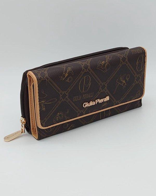 GIULIA PIERALLI - Dames Portemonnee - Luxe portemonnee - Dames overslagportemonnee - Bruin/Crème - 7 pasjes