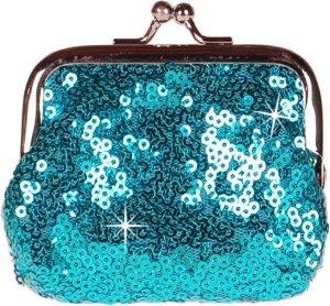 Knipportemonnee blauw met glitterpailletjes-