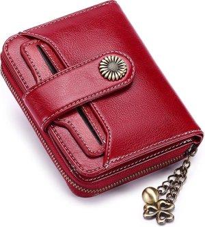Lederen dames portemonnee - rood