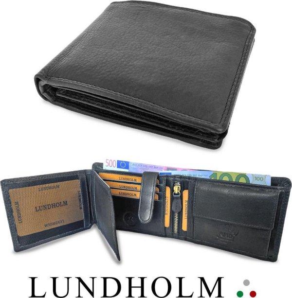Lundholm Luxe herenportefeuille heren portemonnee heren leer - portefeuille heren Heren Billfold Zwart