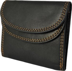 Lundholm - dames portemonnee klein leer - leren portefeuille dames zwart - kleine portemonnee dames leer - portemonneetje dames klein - cadeau voor vrouw