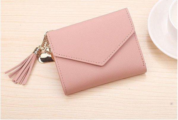 Portemonnee Zonder Rits | Compact | Dames Meisjes Portemonnee| Kunstleer | Mini Wallet Portefeuille Compact 11 x 10 x 2 cm - Roze