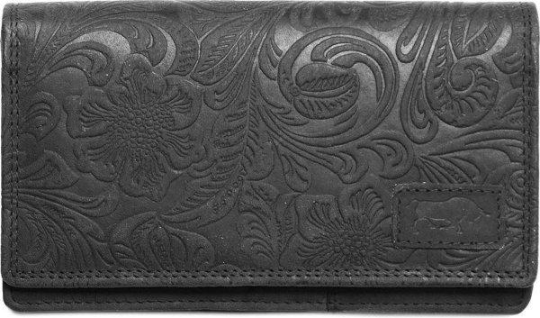 Portemonnee Zwart Leer Dames Met Bloemenprint RFID - Zwart Lederen Dames Portemonnee Anti-Skim
