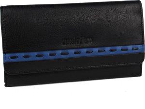 Portemonnee dames nappa leder (RG-008- (6 + 8) - zwart/blauw -