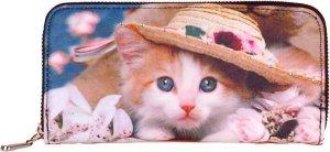 Portemonnee groot poesje met hoedje-